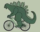 Godzilla on bike, 5x5 print