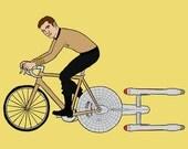 James T. Kirk riding bike powered by the Enterprise, 5x7 print