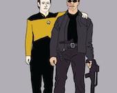 Terminator and Data best friends, 5x7 print