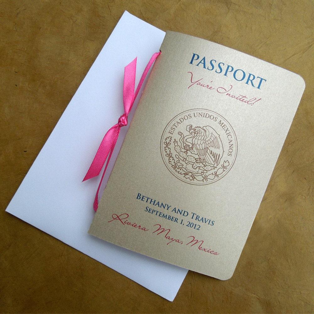 Passport Wedding Invitations: Items Similar To Passport Wedding Invitation On Etsy