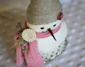 Upcycled Sweater OOAK Snowman - Laurel custom Christmas decoration