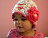 PDF Instant Download Crochet Pattern No 043 Scalloped Beanie With The Rose all sizes baby toddler child adult