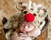 PDF Instant Download Crochet  PATTERN No 235 Reindeer Red Nose photo prop sizes preemie, newborn. 0-3, 3-6 months