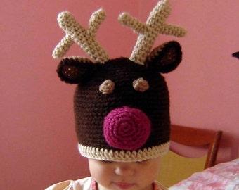 PDF Instant Download Crochet Pattern No 048 Santa Reindeer  Hat  All sizes infant, baby, toddler, child, adult
