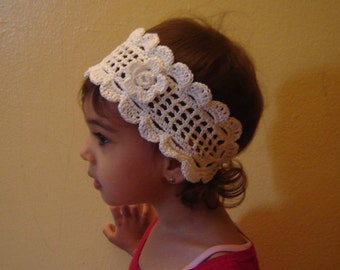 PDF Instant Download Easy Crochet Pattern No022 White Lace Headband