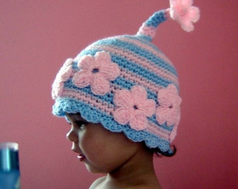 PDF Instant Download Crochet Pattern No 065 Oh Daisy Hat All sizes Baby Toddler Child Adult
