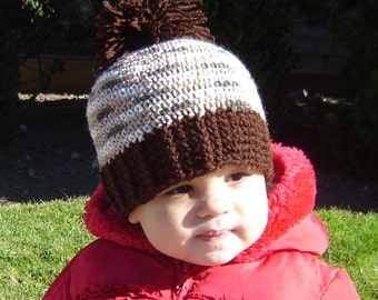 PDF Instant Download Crochet Pattern No 062 Brown Pom Pom Hat With Ribbed Edge All Size baby toddler child adult