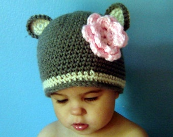 PDF Instant Download Easy Crochet Pattern No 058 grey Bear Beanie Or Earflap  ALL sizes baby toddler child adult