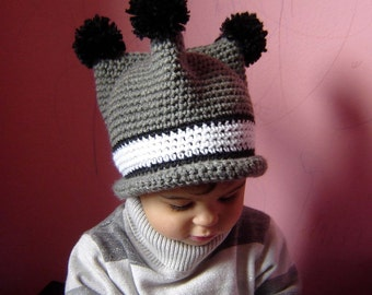 PDF Three Poms Hat  DOWNLOADABLE Crochet Pattern No076 All Sizes Baby Toddler Child Adult