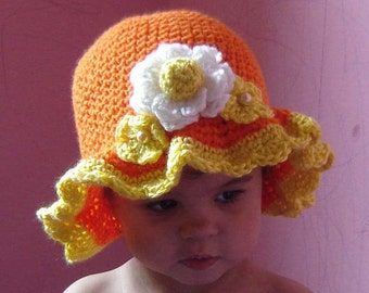 PDF Instant Download Crochet Pattern N0 077 Orange Scalloped Hat All sizes Baby Toddler Child Adult