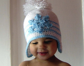PDF White Snowflake Hat  DOWNLOADABLE Crochet Pattern No075 All sizes Baby Toddler Child Adult