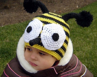 PDF The Bee Hat CROCHET PATTERN No 080 All sizes Baby Toddler Child Adult