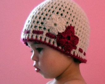 PDF Instant Download Crochet Pattern No 060 Basic Beanie With 2 Flowers and a ribbon ALL sizes baby toddler child adult