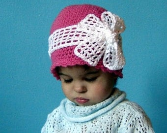 PDF Instant Download Easy Crochet Pattern No 078 Bow Beanie All Sizes Baby Toddler Child Adult