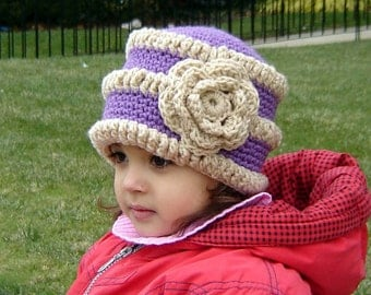 PDF Instant Download Crochet Pattern No 079 Purple Striped Hat All sizes Baby Toddler Child Adult