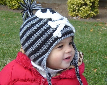 PDF Pirate Earflap Hat  DOWNLOADABLE Crochet Pattern No 067 ALL Sizes Baby Toddler Child Adult