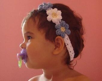 PDF Instant Download Easy Crochet PATTERN No 021 Blue Flowers Headband