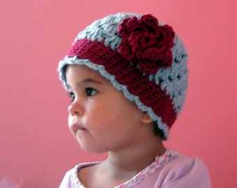 PDF Cherry or Rose Scalloped Beanie Instant Download Crochet Pattern No 041 All sizes Baby Toddler Child Teen Adult