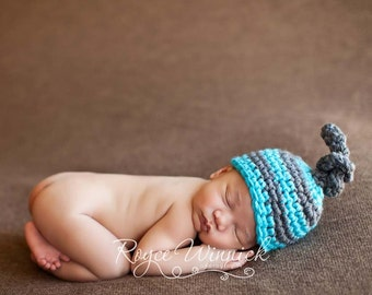 PDF Instant Download Easy Crochet Pattern no103 Striped Knot Hat All sizes from Newborn to Adult