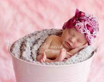PDF Instant Download Easy Crochet PATTERN No 203 Maroon Ribbon Beanie Photography Prop Sizes Preemie, Newborn, 0-3, 3-6 months