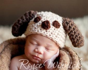 PDF Instant Download Easy Crochet Pattern No 210 Little Puppy Chunky Yarn photo prop sizes preemie, newborn. 0-3, 3-6 months
