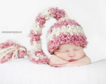 PDF Instant Download Crochet Pattern No 214 Striped Elf Hat with the Tassel Photography Prop Sizes preemie, newborn, 0-3, 3-6 months