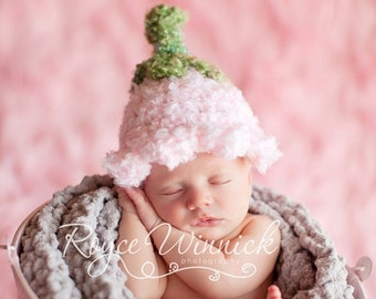 PDF Instant Download Easy Crochet Pattern No 215 Pink Bell Baby Hat Photo Prop Sizes preemie, newborn, 0-3, 3-6 months