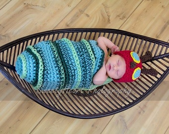 PDF Instant Download Crochet Pattern No 219 Caterpillar Cocoon and Beanie Chunky yarn photo prop sizes preemie, newborn. 0-3, 3-6 months