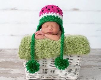 PDF Instant Download Crochet  Pattern No 220 Watermelon Hat photo prop sizes preemie, newborn. 0-3, 3-6 months