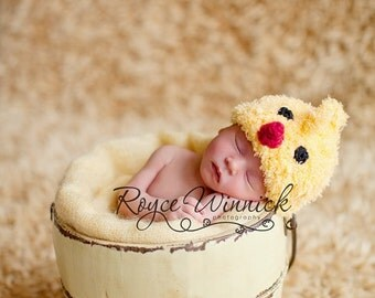 PDF Instant Download Easy Crochet Pattern No 222 Little Chicken Hat and Photography Prop  Sizes preemie, newborn, 0-3, 3-6 months