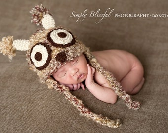 PDF Instant Download Crochet Pattern No 225  Baby Owl Hat Photography Prop and hat Sizes preemie, newborn, 0-3, 3-6 months
