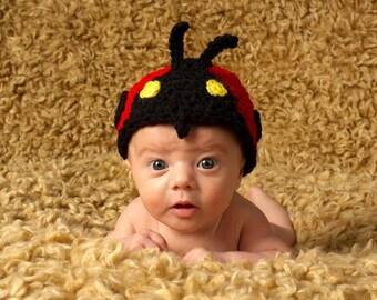 PDF Downloadable Crochet PATTERN No 233  Ladybug Hat Photography Prop Sizes preemie, newborn, 0-3, 3-6 months