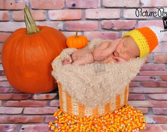 PDF Instant Download Easy Crochet Pattern No 246 Corn Candy Hat photo prop sizes preemie, newborn. 0-3, 3-6 months