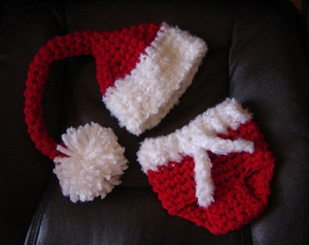 PDF Instant Download Crochet Pattern No 251 Santa's Set Hat and Diaper Cover Chunky yarn photo prop sizes preemie, newborn. 0-3, 3-6 months