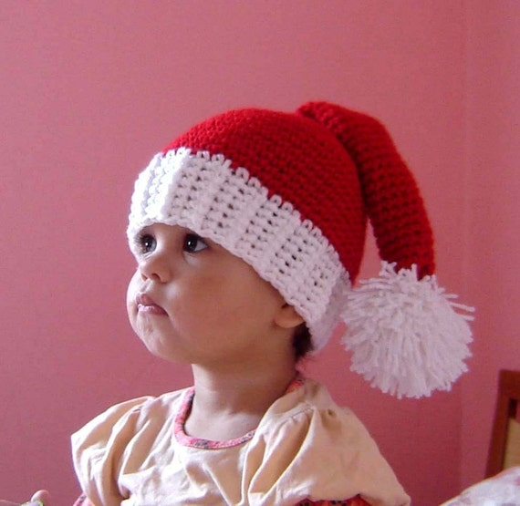 PDF Instant Download Crochet  Pattern No047 Santa  Pom Hat with Ribbed Edge  ALL sizes  infant, baby, toddler, child, adult
