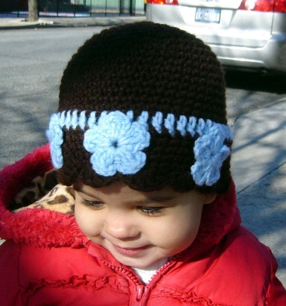 PDF Instant Download Easy Crochet Pattern No 073 Brown Beanie Blue Flowers all sizes baby toddler child adult