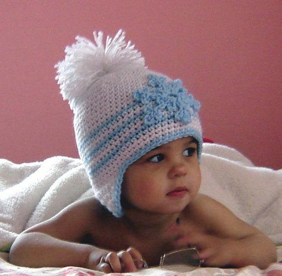 PDF Instant Download Crochet Pattern No 075 Snowflake Applique Hat All sizes Baby Toddler Child Adult