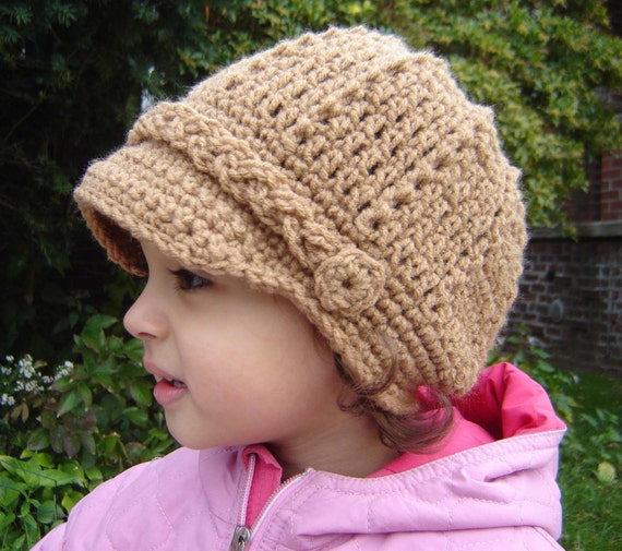 PDF Instant Download Crochet Pattern No 056 Newsboy Cap All sizes baby toddler child adult