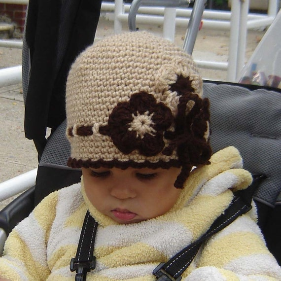 PDF Instant Download Easy Crochet PATTERN No030 beige Flower Cloche all sizes baby toddler child adult