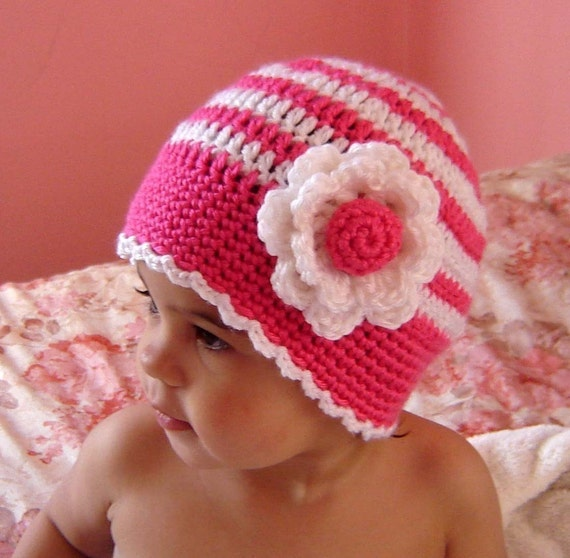 PDF Instant Download Crochet Pattern No 053  Striped Beanie With Flower All sizes baby toddler child adult crochet tutorial