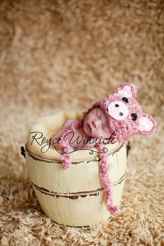 PDF Instant Download Easy Crochet Pattern No 204 Fuzzy Piggy Baby Hat and Photography Prop Sizes preemie, newborn, 0-3, 3-6 months
