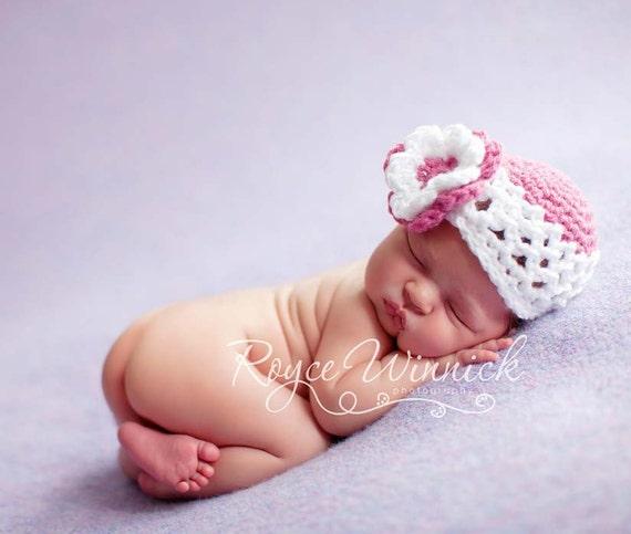 PDF Instant Download Crochet Pattern No 226 Mesh Beanie Beanie and Photography Prop Sizes Preemie, Newborn, 0-3, 3-6 months