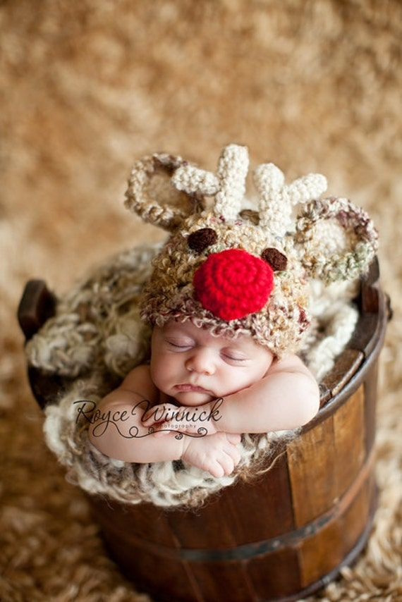 PDF Instant Download Crochet Pattern No 235 Santa's Reindeer Red Nose photo prop sizes preemie, newborn. 0-3, 3-6 months