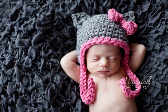 PDF Instant Download Easy Crochet PATTERN No 259 Gray Kitty Hat and Photography Prop All Sizes from preemie to adult