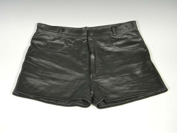 Sexy Pair of Men's Levi Cut,  Lined Black Leather Shorts with Pockets and Belt Loops, 1980's