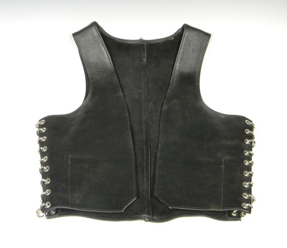 Men's Large Black Leather Bar Vest with Chain Link Sides by Image Leather, San Diego circa 1980s