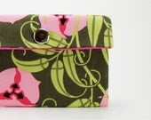 Small Ppouch / Cosmetic Case / Cell Phone or Camera Case / Change Purse / Coupon Holder / Pink and Green Passion Vine