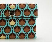 Snap Wallet / Womens Wallet / Modern Aqua Bud / Pouch