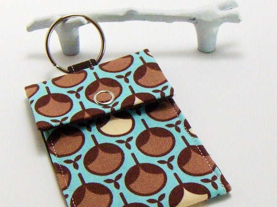 Key chain / Business Card Case in Modern Aqua Bud / Card Keychain