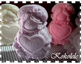 Cloth Doll - Set of 3 Soaps in a Basket